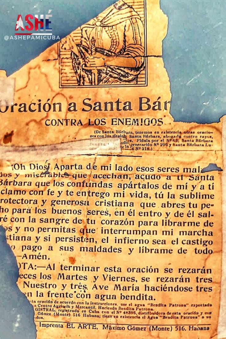 estampa antigua con oracion a Santa Barbara bendita
