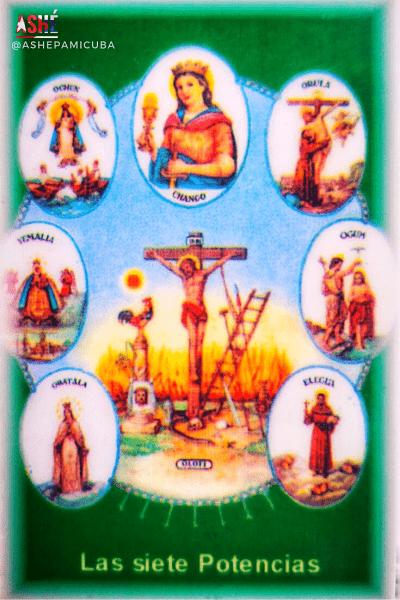 estampa religiosa con la imagen de las siete potencias africanas